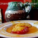 Pimientos rellenos de arroz basmati con crema de calabaza