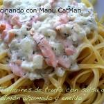Tallarines con salsa de salmón ahumado y eneldo