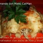 Canelones de gulas, calabacín y gambones gratinados con salsa de foie y trufa
