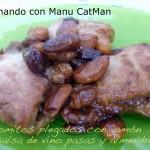 Lomitos plegados con jamón y salsa de vino, pasas y almendras [Cocinando con... Eva Muñoz]