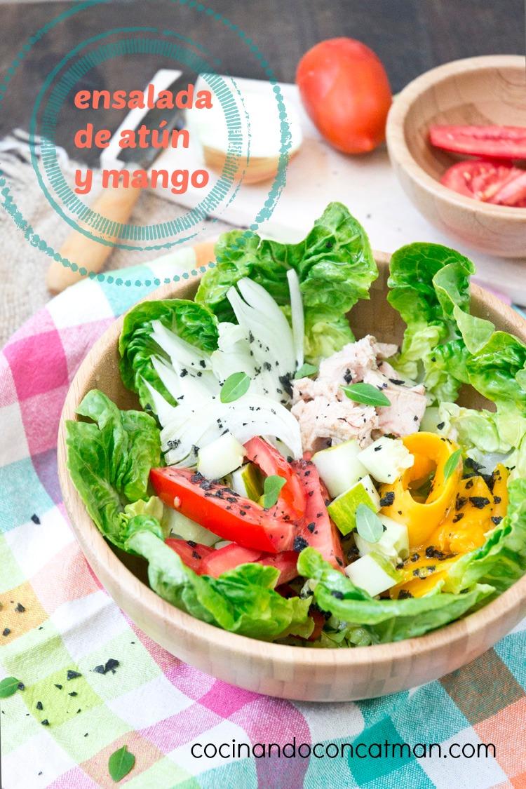 ensalada de atun y mango