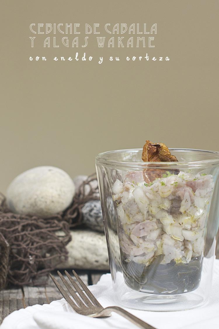 cebiche de caballa y algas wakame