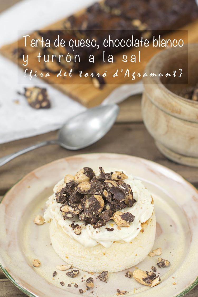 tarta de queso y chocolate blanco con turrón de Agramunt