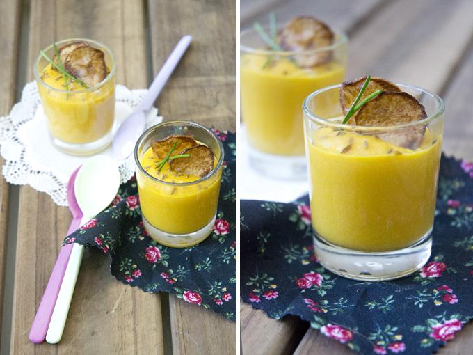 crema de calabaza y coliflor collage