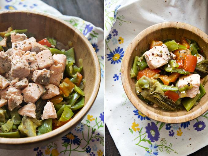 salmon con verduras