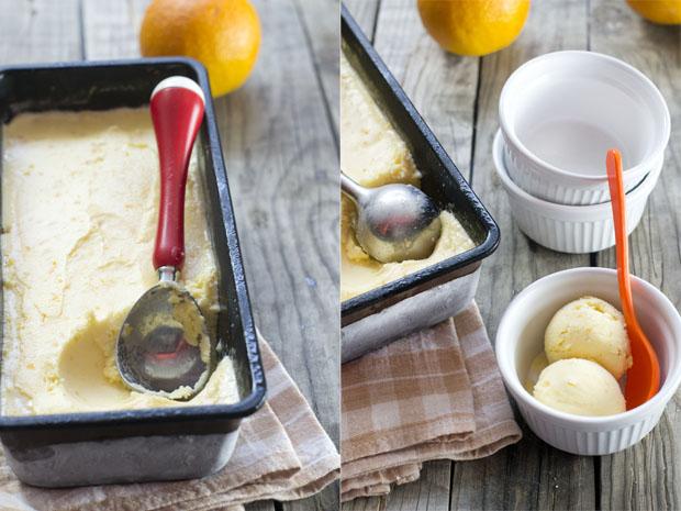 helado cremoso casero de naranja