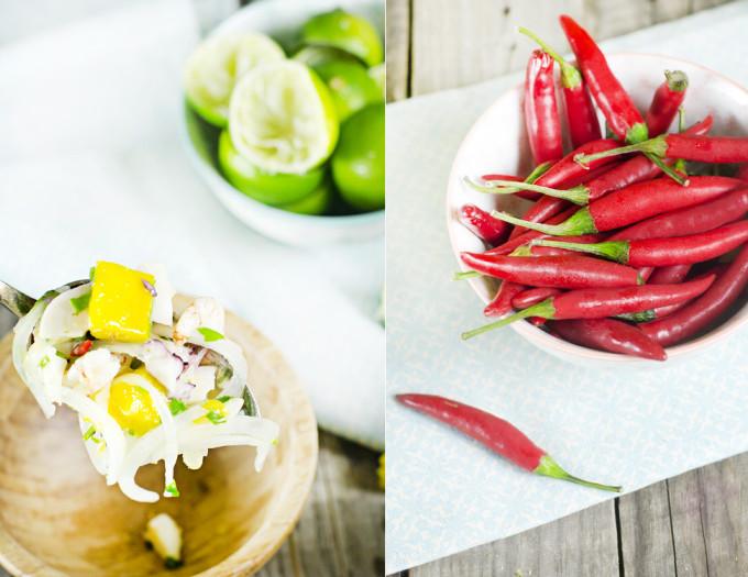 receta de ceviche de gambas con mango y chile rojo