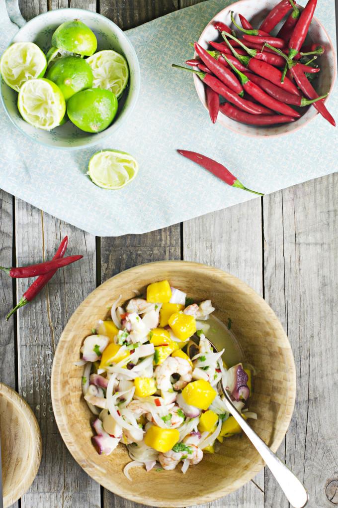 receta de ceviche con gambas, pulpo y mango