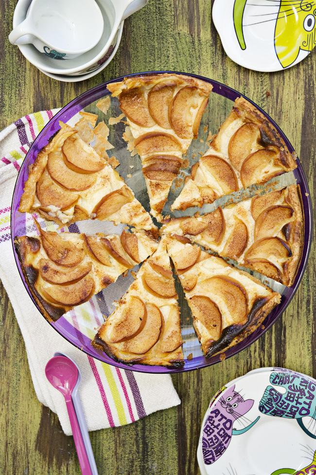 cómo hacer tarta de manzana con crema pastelera