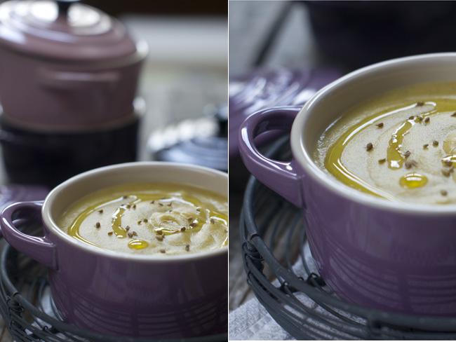 crema de coliflor, brócoli y patata con anís