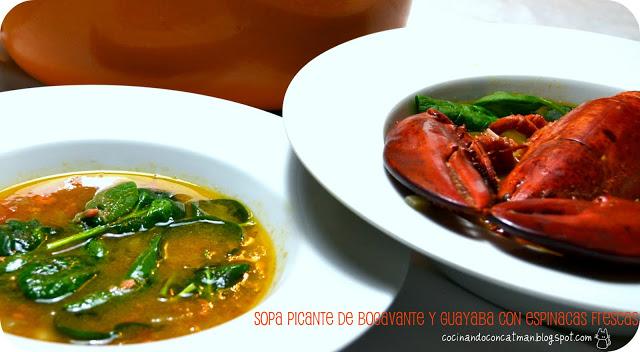 sopa picante de bogavante y guayaba