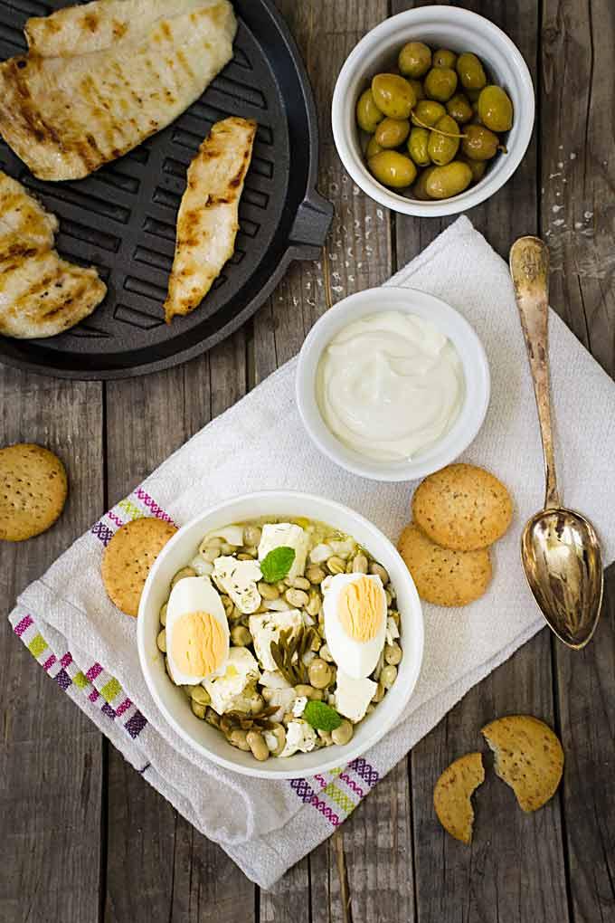 ensalada de habas a la griega