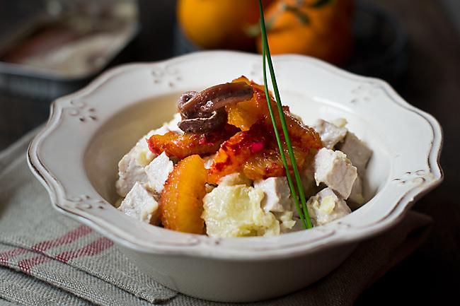 receta de ensalada de naranja sanguina, lomo y anchoas