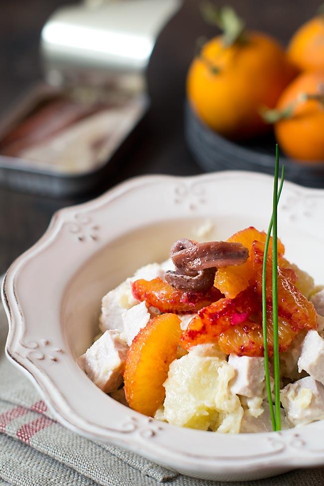 cómo hacer ensalada de naranja sanguina y anchoas