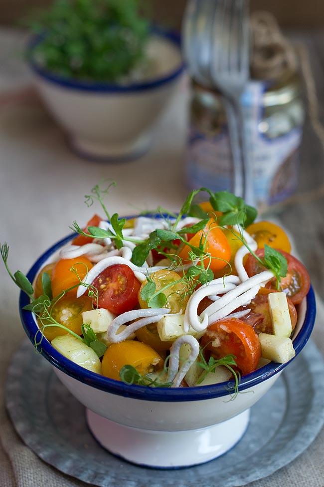 receta de ensalada de tomates y pepino