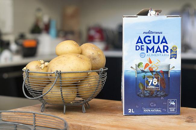 prueba de la patata con agua de mar