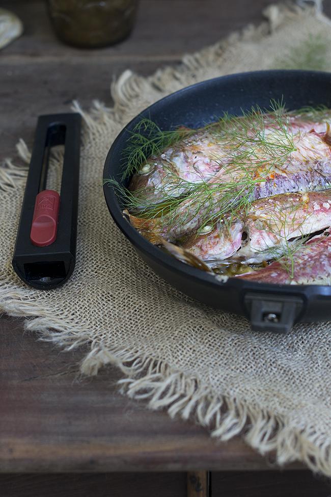 salmonetes al horno con verdura