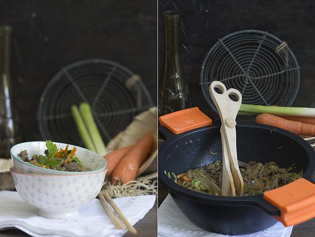wok de verduras y ternea collage