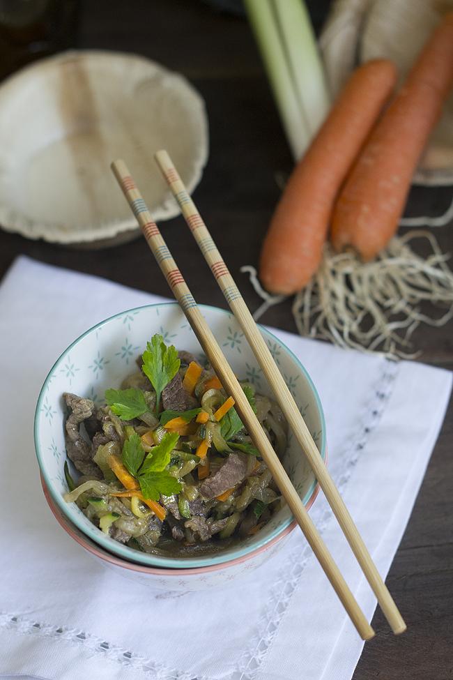 wok de verduras y ternera
