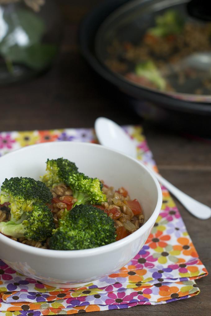 espelta con brócoli