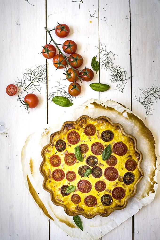 tarta de tomate y mostaza