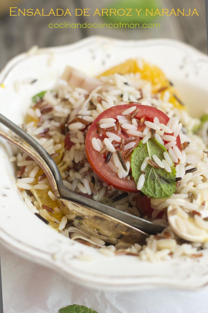 ensalada de arroz y naranja